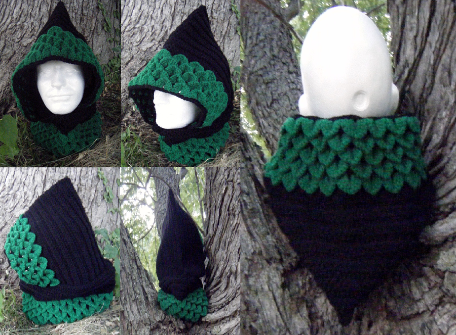 Knitting Pattern Dragon Scales : Dragon-scale crocheted hood, black/emerald by Arexandria on DeviantArt