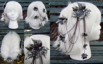 Green Birch Fantasy Leather Leaf Head Piece by Arexandria