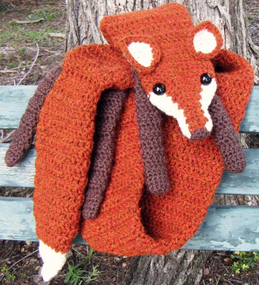 Free Crochet Patterns Fox Scarf : Fire Tweed Faux Fox Scarf, Chocolate accents by Arexandria ...