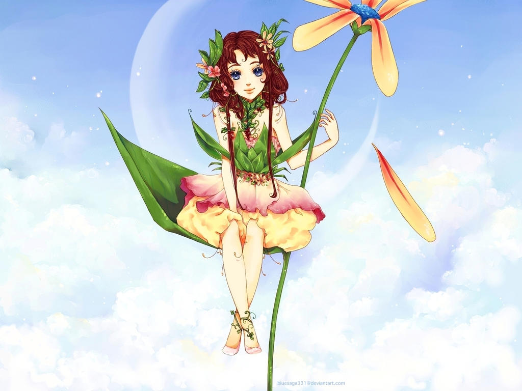 Flower Fairy Wallpaper by bluesaga331