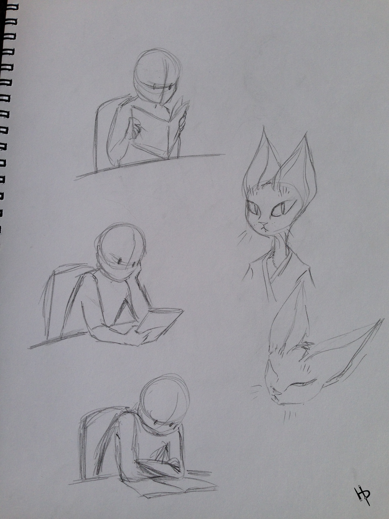 Reading poses and a weird cat thing by MoondayBlue