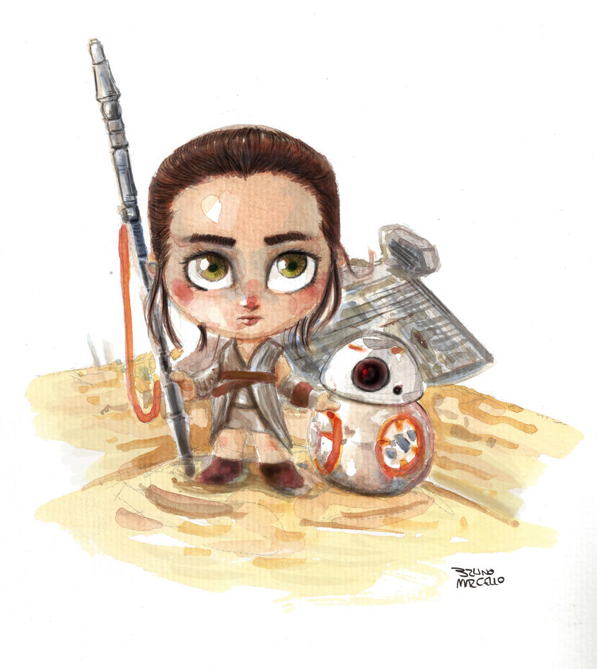 Rey and BB-8 by bua