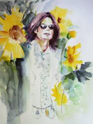 Michael Jackson Brightness in the sunflowers field by HitomiOsanai