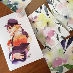 Watercolors flowers and Michael Jackson