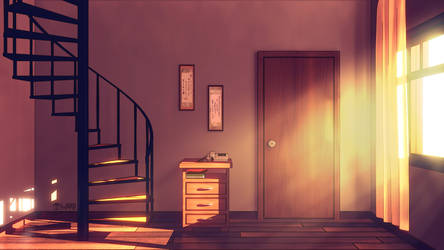 Anime Style Background - Spiral Staircase
