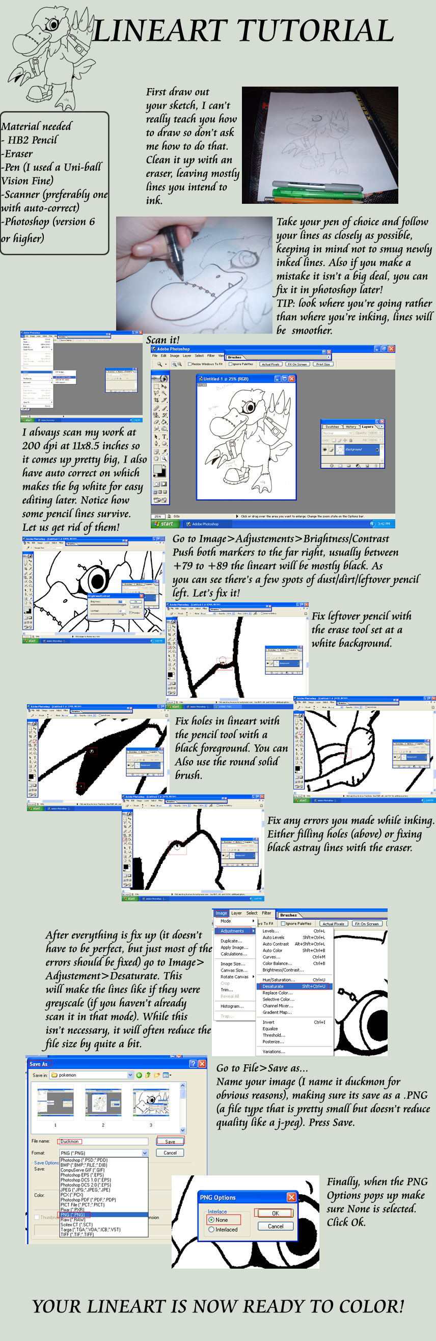 Tutorial 1: lineart by G-FauxPokemon