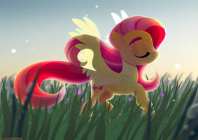 Fluttershy in the field by GLaSTALINKA