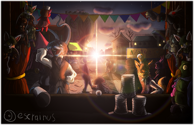 Neopets - A sunset at Neovia's fair by escrainus