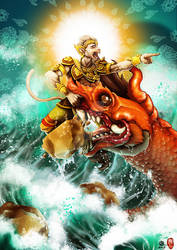 Hanuman Fights a Sea Dragon