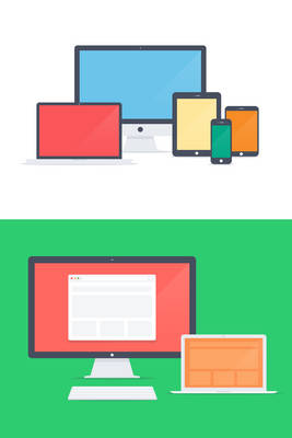 Flat Apple family - PSD