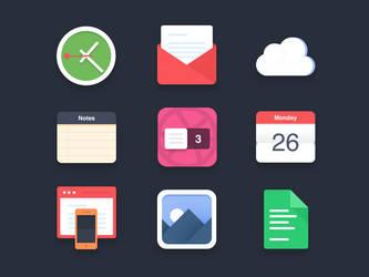 Flat icons PSD + 3 dribbble invites by NumarisLP