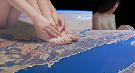 Continent sized giantess sitting on the earth
