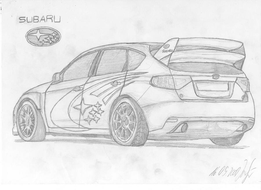 Subaru impreza wrc drawing by jannomag