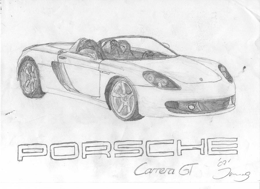 porsche carrera gt drawing by jannomag on deviantart. Black Bedroom Furniture Sets. Home Design Ideas