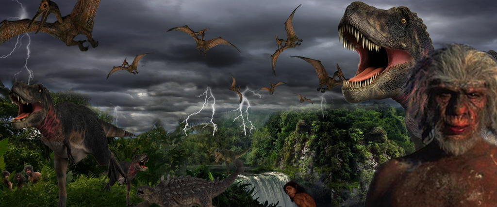 Caveman And Dinosaurs : Dinosaurs pterodacytls and cavemen storms by biga nt on