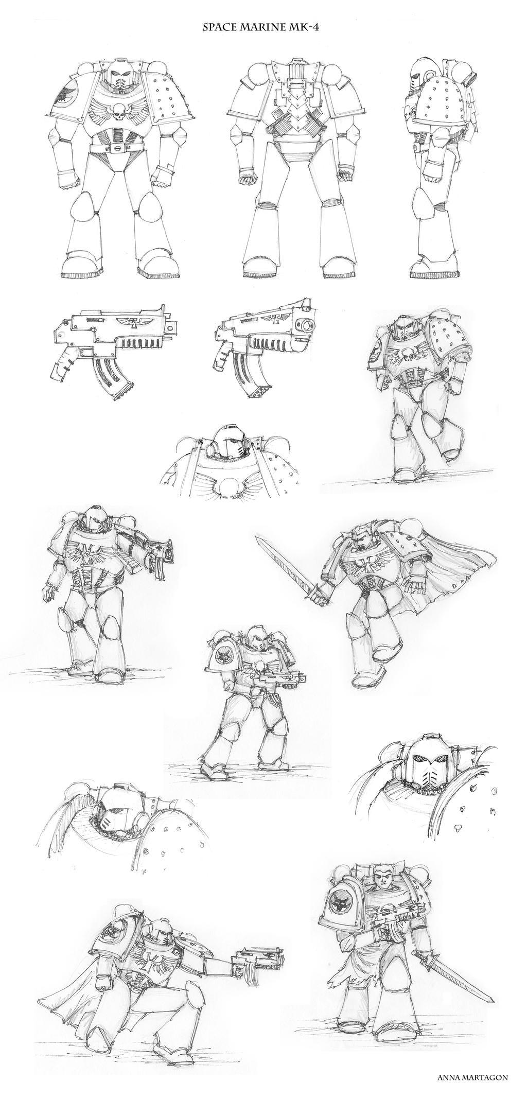 Space Marine MK-4 sketches