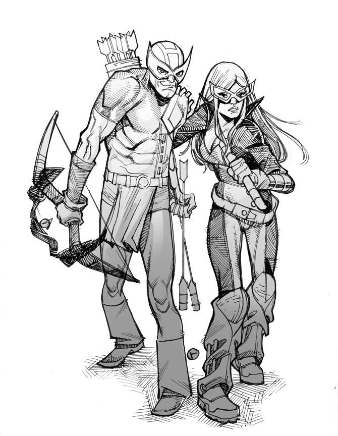 Hawkeye and Mockingbird by riq