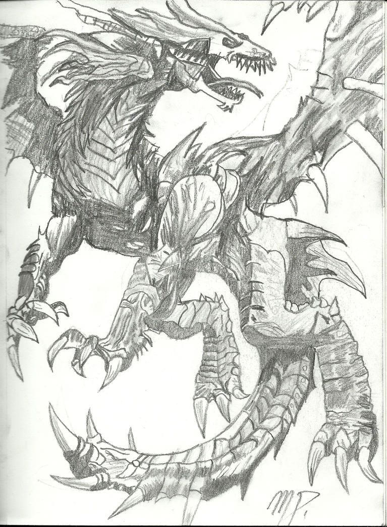 Dragon drawing by mattheau on deviantart for Cool detailed drawings