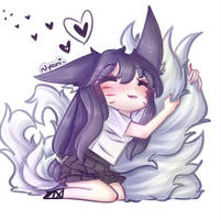 Ahri loves her tails by MistressAhri