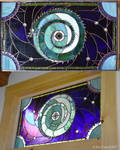 Moon Dragon    stained glass panel