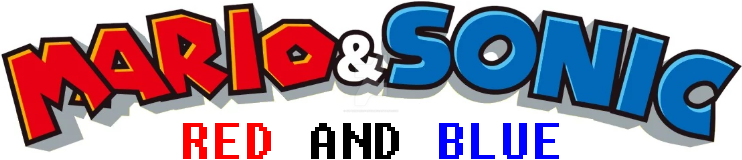 Mario and Sonic Red and Blue logo by SuperMarioFan65