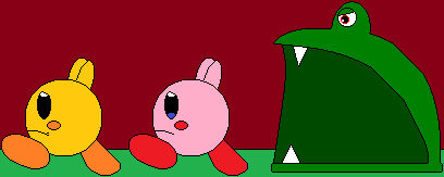 Kirby and Keeby run from the blob monster