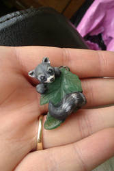 Tiny Racoon pendant!