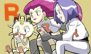 Jessie, James and Meowth Playing Pokemon Red by RamyunKing