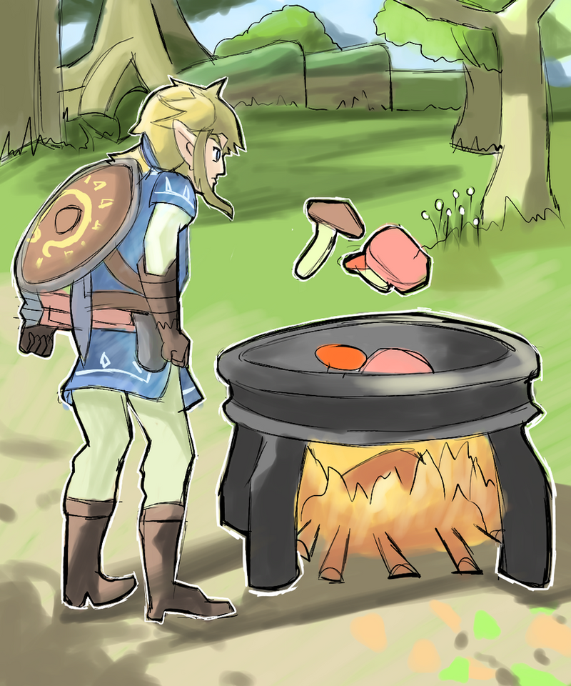 Zelda botw link cooking by alsanya on deviantart for Cuisine zelda