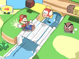 SUPER MARIO 3D LAND: WORLD 1-1 Doodle by RamyunKing