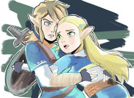 Link and Zelda Breath of the Wild by RamyunKing