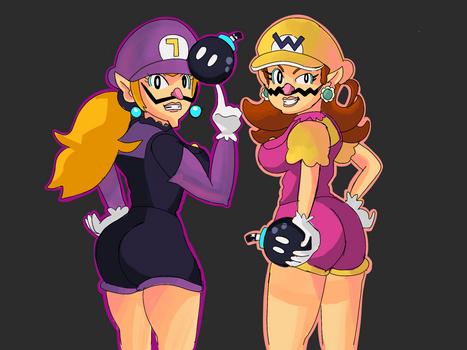 Daisy and Peach as Wario and Waluigi