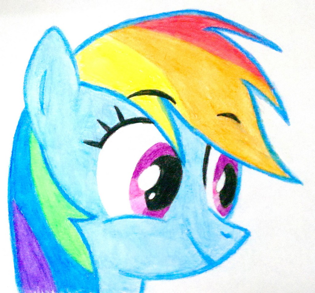 excited rainbow dash watercolor pencils by rogerdaily on