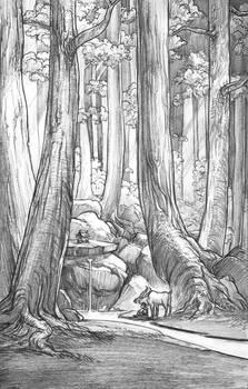 Ashitaka and Yakkul in the Forest