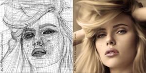 Scarlett Johansson - Vector Wireframe by Atebitninja