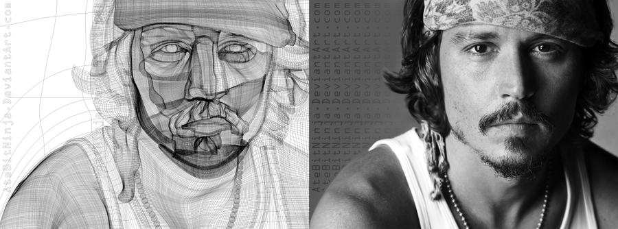 Johnny Depp - Vector Wireframe by Atebitninja