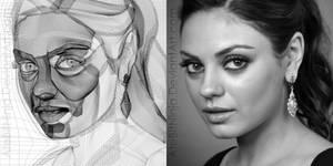 Mila Kunis - Vector Wireframe by Atebitninja