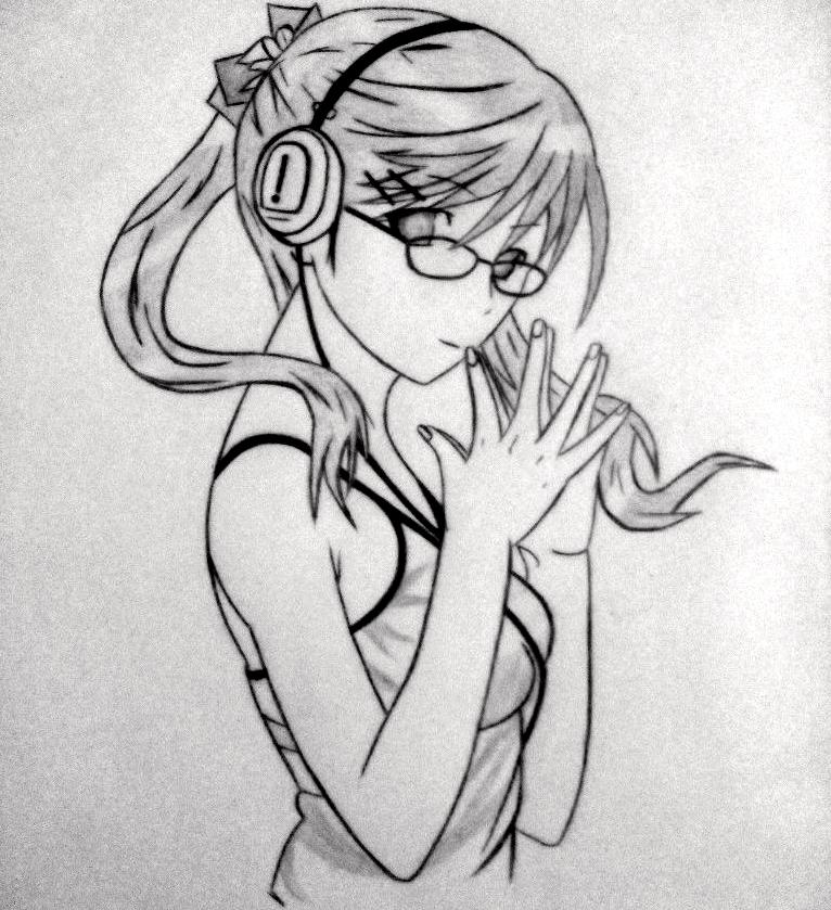 Nerd anime girl art