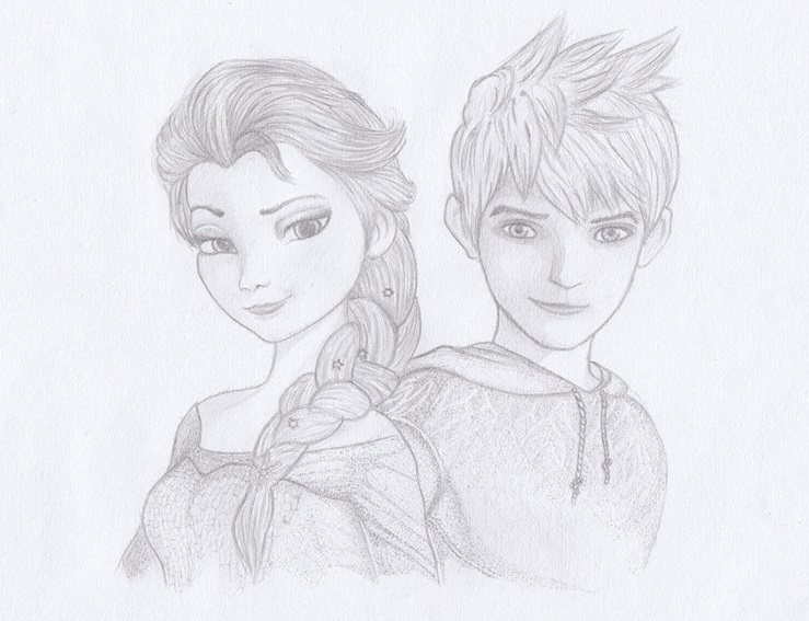 Elsa And Jackfrost Sketch By Suzakuro On Deviantart Description Jack Frost Coloring Pages