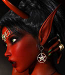 Sexy Fantasy Red Demon Devil Elfen Vamp 001E