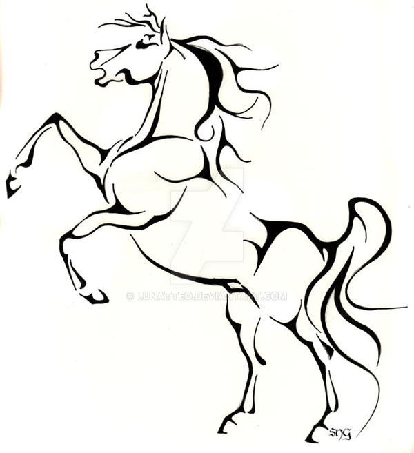 Line Drawing Horse : Rearing horse lines by lunatteo on deviantart