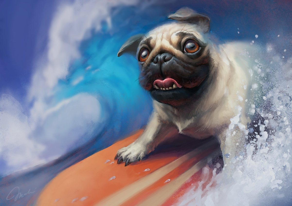 Surfing pug by MagdaPROski