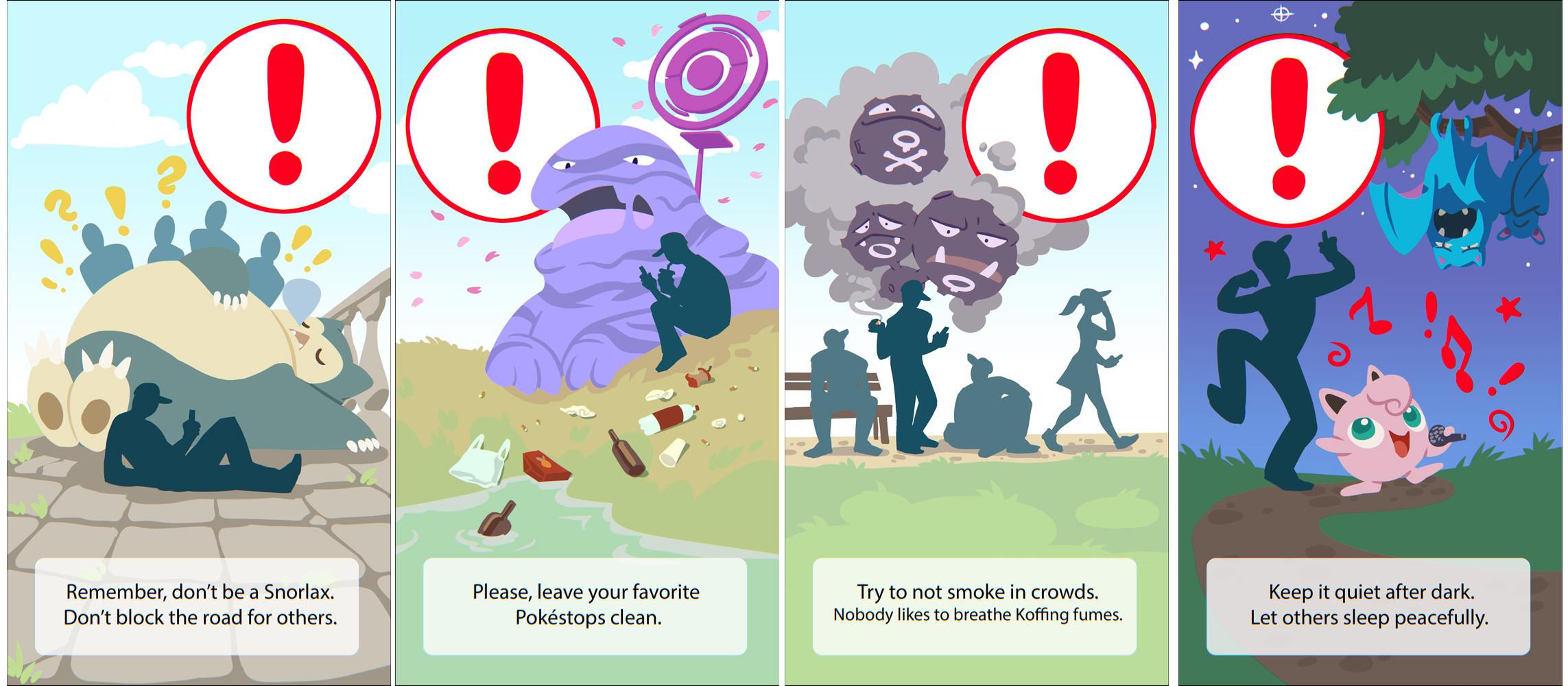 Pokemon Go warnings by MagdaPROski on DeviantArt