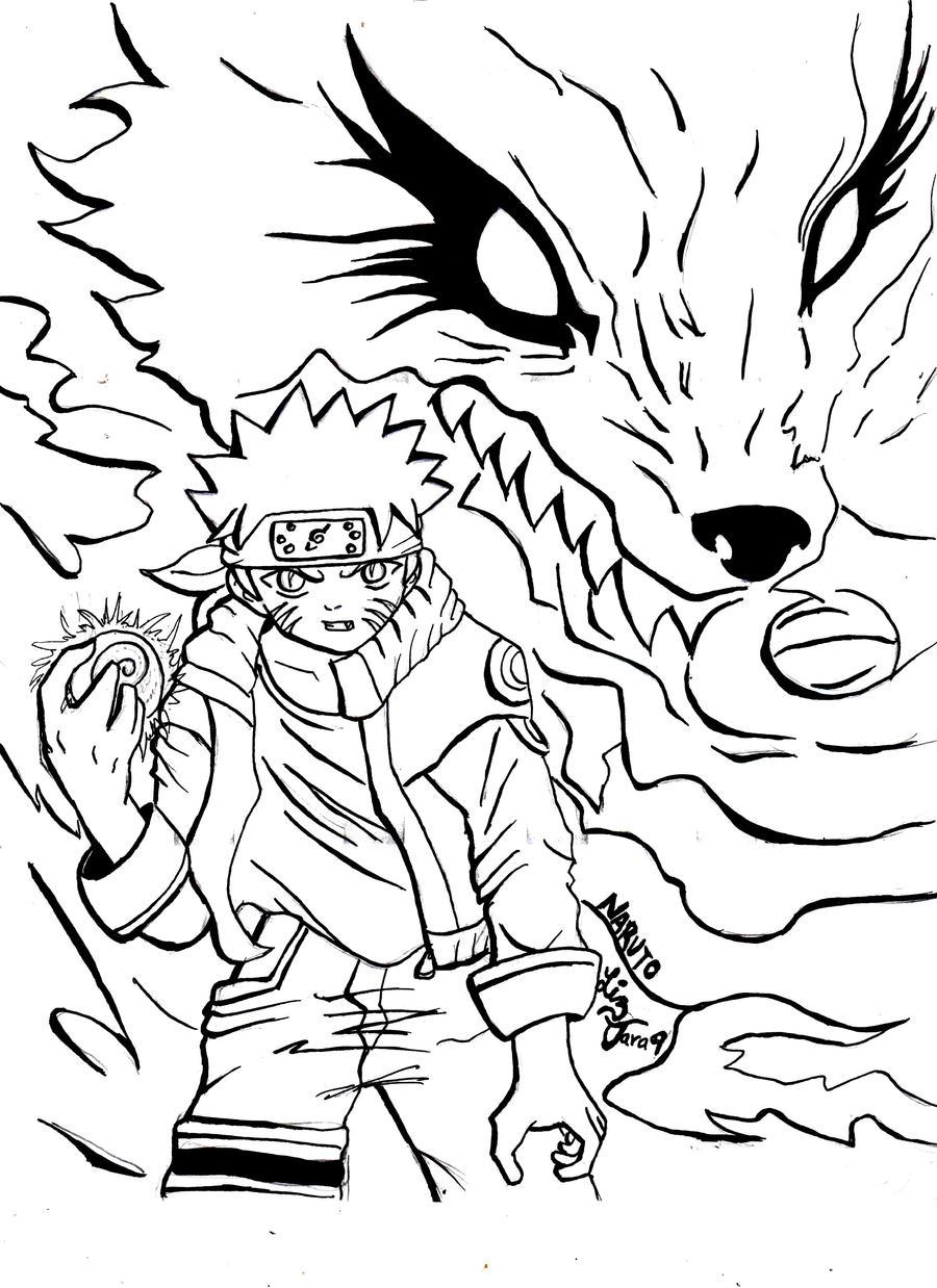 Bonito Naruto Para Colorear Nueve Zorros De Cola Galería - Dibujos ...