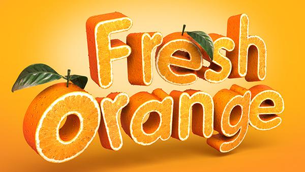 Create a 3D, Fruit-Textured, Text Effect by freebiespsd