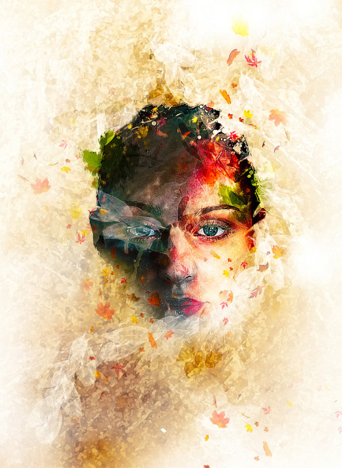 Create Leafy Face Photo Manipulation in Photoshop  by freebiespsd