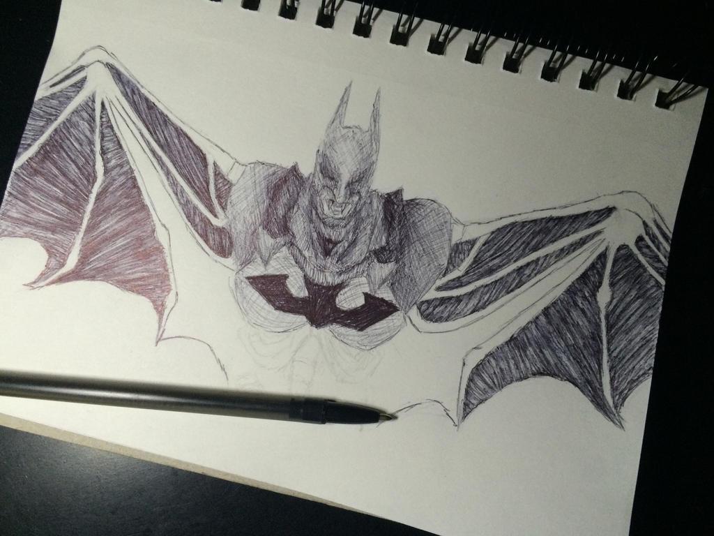 Vampire Pen Art Batman (progress) by ArtistJulez