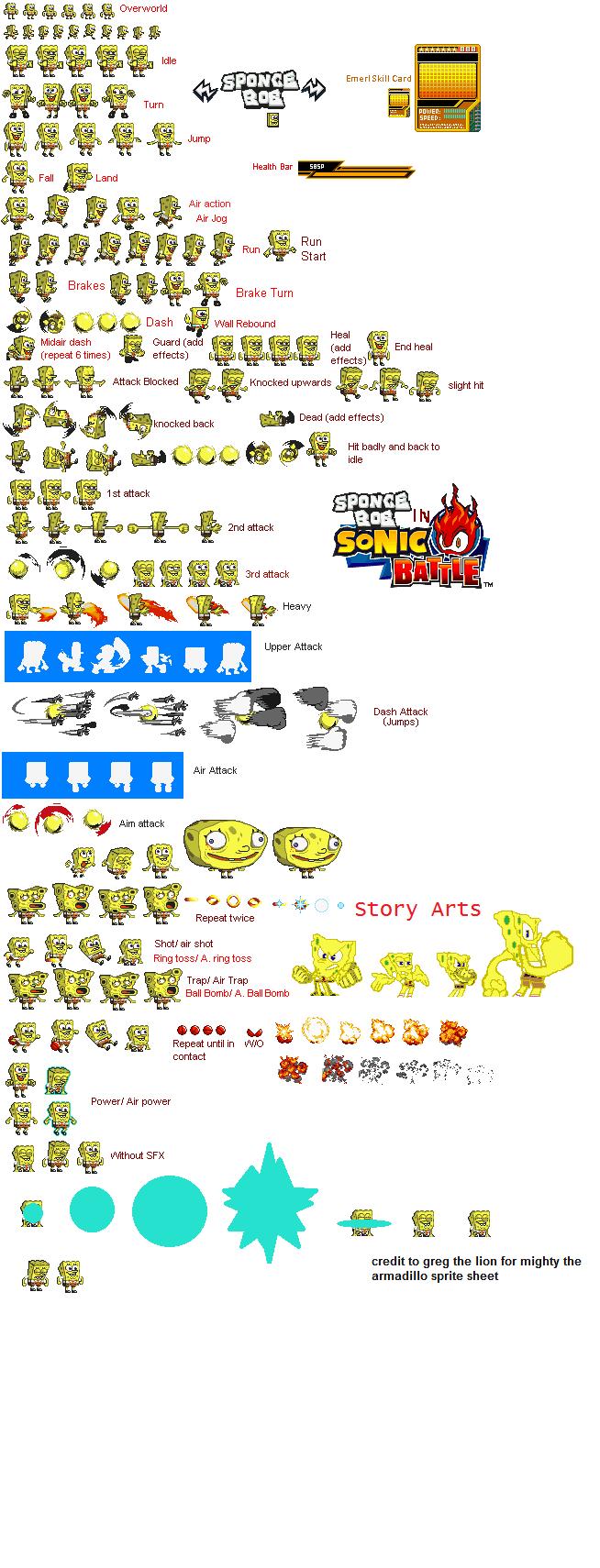 Spongebob Squarepants Sonic Battle Sprite Sheet By
