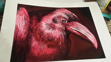 Monochromatic Crow Acrylic by Ralola