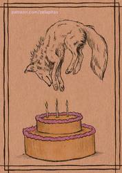 Birthday cake fox (Patron ink card)